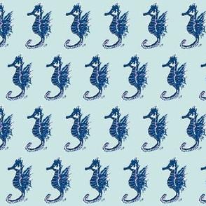 Navy Seahorses on Mint - Tiny