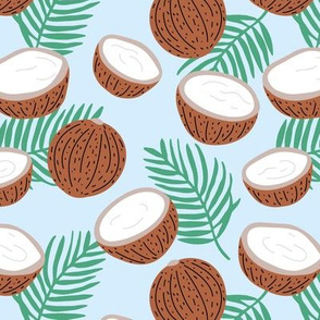 Tropical beach and island vibes coconuts palm and banana leaves