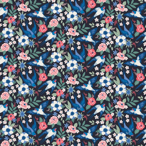 Swallows in roses and anemones