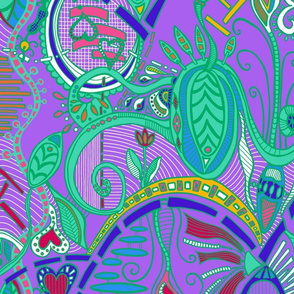joyful botanical abundance wild colors 3 (violet background)