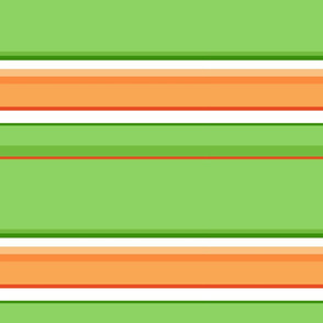 So Peachy Sweet Fruit / Painterly Peach - Orange Green Stripe