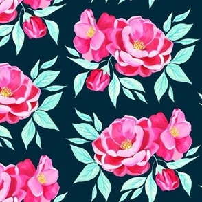 Hot Pink Peonies on Teal (Large)