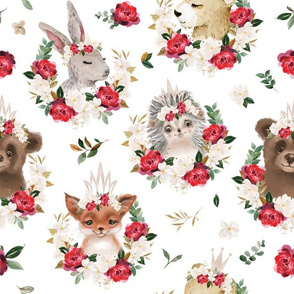 red rose magnolia floral animals