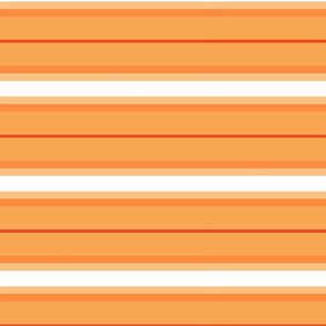 So Peachy Sweet Fruit / Painterly Peach - Orange Horizontal Stripes