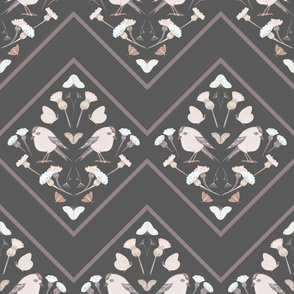 Flower and Birds Composition with Geometry in Pastel Colors seamless pattern background.