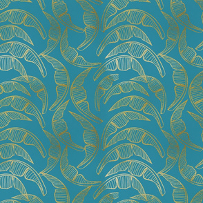 Evening in the Tropics - Spring in Palm Beach - Gold on Teal