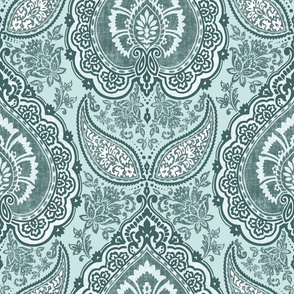 Indian Paisley Damask Pine and Mint