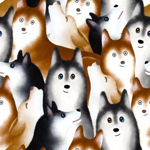 A Bunch of Siberian Huskies – Large Scale