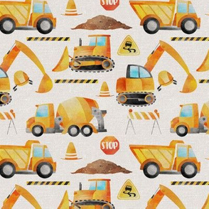 Construction Trucks on a textured background - small scale