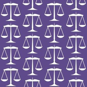 1.5 Inch White Scales of Justice on Ultra Violet Purple