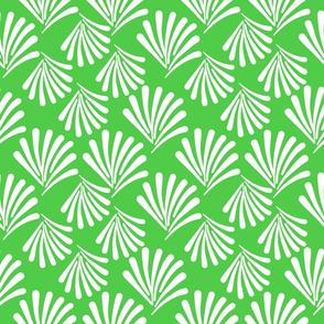 Art Deco Fan Flare! White on Emerald Green
