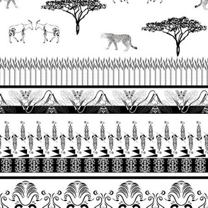 Ornamental plants and wildlife, bw