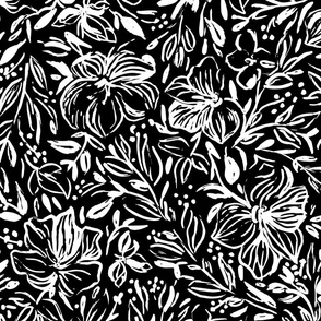 Hibiscus flowers in black ink invert  - large