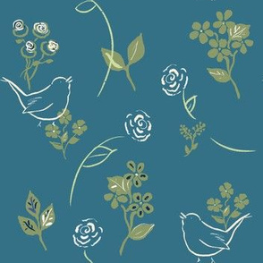 Roses and Wrens in Tide and Sage