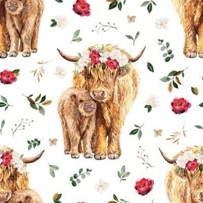 red rose magnolia Highland cow floral
