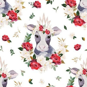 red rose magnolia cow with flowers - 5 inch wide
