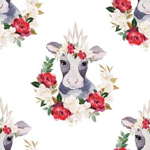 red rose magnolia cow - 5 inch wide