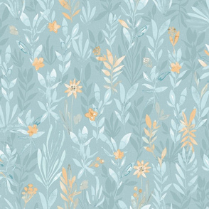 Summer sunset / Watercolor leaves in teal and gold