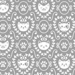 I Heart Cats on Medium Grey