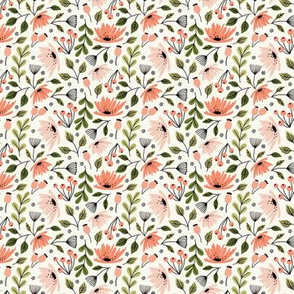 Ditsy modern floral- pink and green on cream - micro