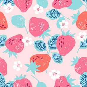 Strawberry on the pink background