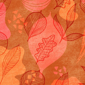 Faux Leaves - vibrant orange