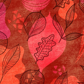 Red Leaves - textured pattern