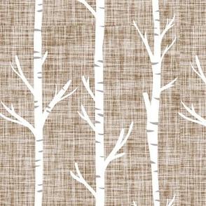 stone linen birch trees
