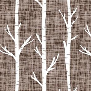 mocha linen birch trees