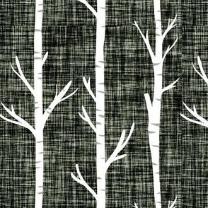 blue olive linen birch trees