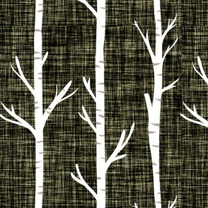olive green linen birch trees