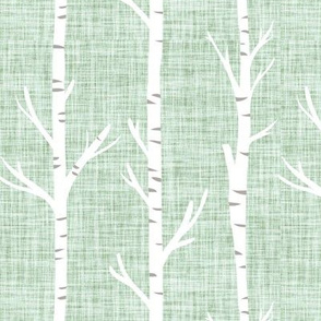 mint linen birch trees