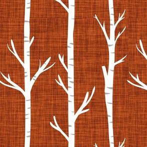 rust linen birch trees
