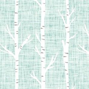 blue pistacho linen birch trees