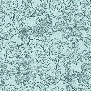 Mint green floral pattern