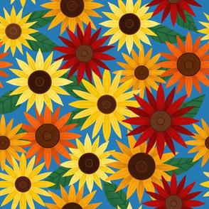 Summer Sunflowers (on Blue)