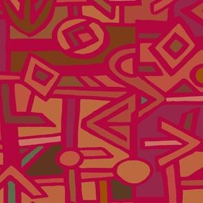 BaKuba Tribal - Rose Orange - Wallpaper