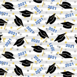 Tossed Graduation Caps with Blue 2021, Gold & Silver Confetti (Small Size)