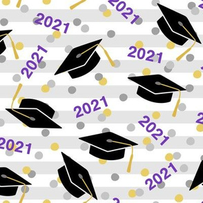 Tossed Graduation Caps with Purple 2020, Gold & Silver Confetti (Large Size)