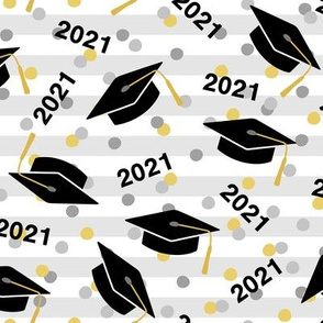 Tossed Graduation Caps with Black 2021, Gold & Silver Confetti (Large Size)