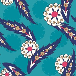 Leaves & Blossoms - Turquoise (Large)