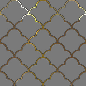 Ogee Half Drop Tiles in Grey with Gold