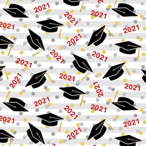 Tossed Graduation Caps with Red 2021, Gold & Silver Confetti (Small Size)