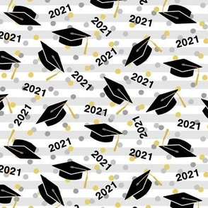 Tossed Graduation Caps with Black 2021, Gold & Silver Confetti (Small Size)