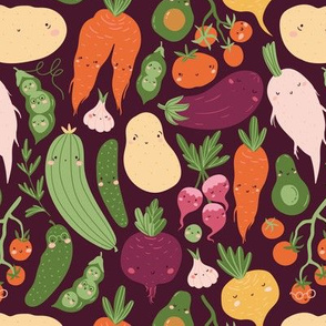 Cute vegetables on dark