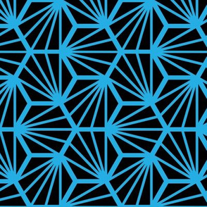 Geometric Pattern: Hexagon Ray: Black Blue