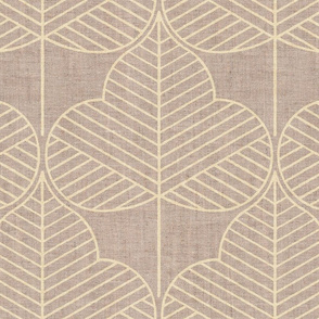 Light gold leaves on linen