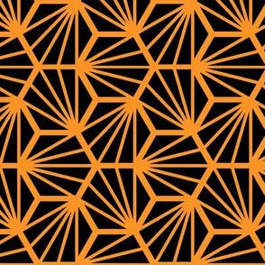 Geometric Pattern: Hexagon Ray: Black Orange