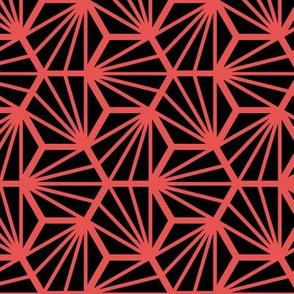 Geometric Pattern: Hexagon Ray: Black Red