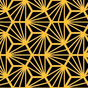 Geometric Pattern: Hexagon Ray: Black Yellow